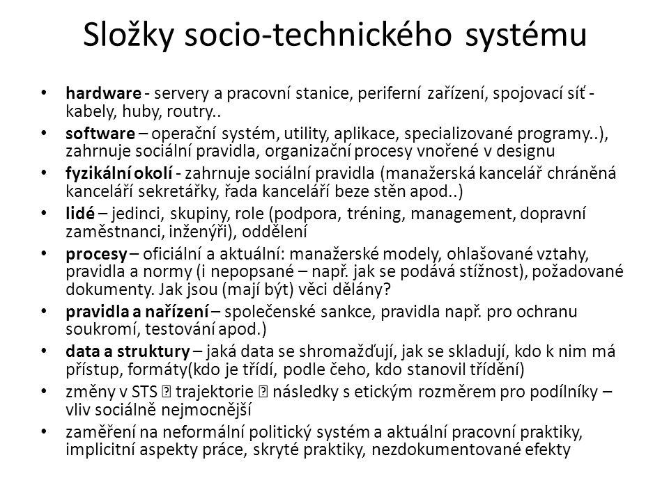 Složky socio-technického systému hardware - servery a pracovní stanice, periferní zařízení, spojovací síť - kabely, huby, routry.. software – operační