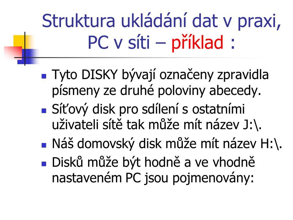 Struktura ukládání dat v praxi, PC v síti – příklad : Tyto DISKY bývají označeny zpravidla písmeny ze druhé poloviny abecedy.