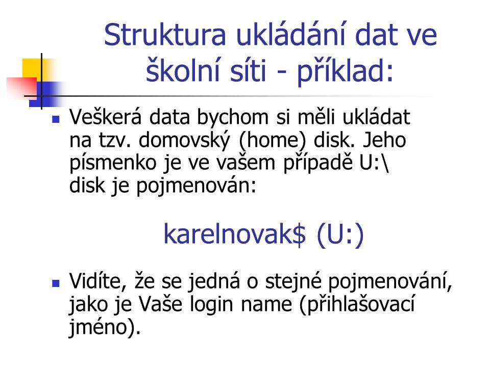 Struktura ukládání dat ve školní síti - příklad: Veškerá data bychom si měli ukládat na tzv.