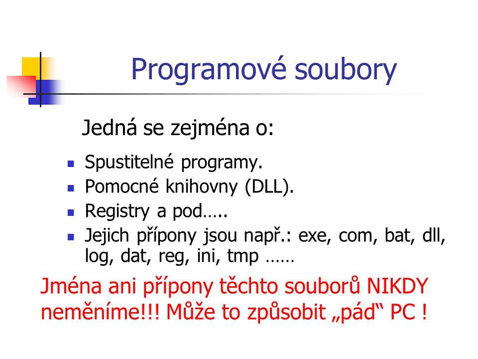 Programové soubory Spustitelné programy. Pomocné knihovny (DLL).