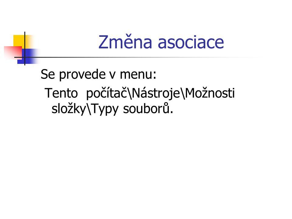 Změna asociace Se provede v menu: Tento počítač\Nástroje\Možnosti složky\Typy souborů.