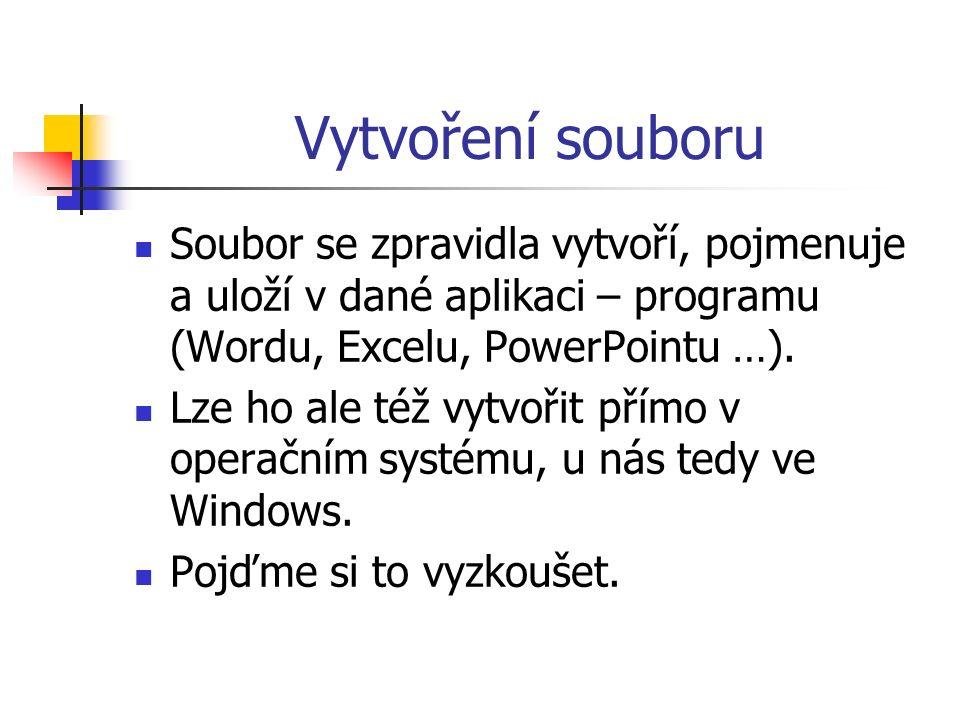 Vytvoření souboru Soubor se zpravidla vytvoří, pojmenuje a uloží v dané aplikaci – programu (Wordu, Excelu, PowerPointu …).