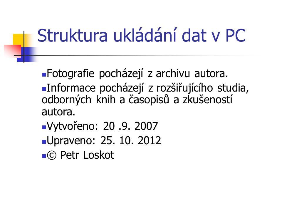 Struktura ukládání dat v PC Fotografie pocházejí z archivu autora.