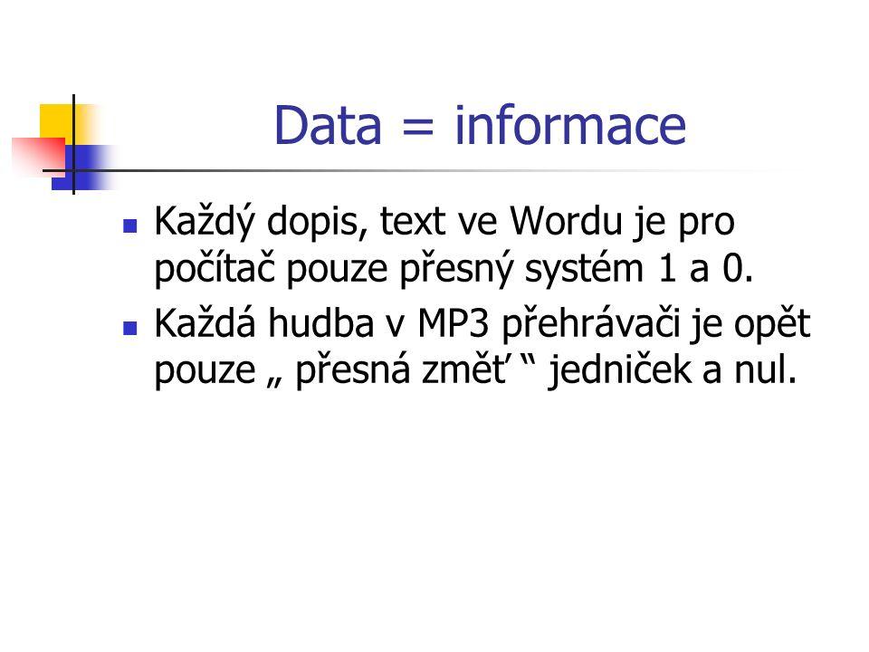 Data = informace Každý dopis, text ve Wordu je pro počítač pouze přesný systém 1 a 0.