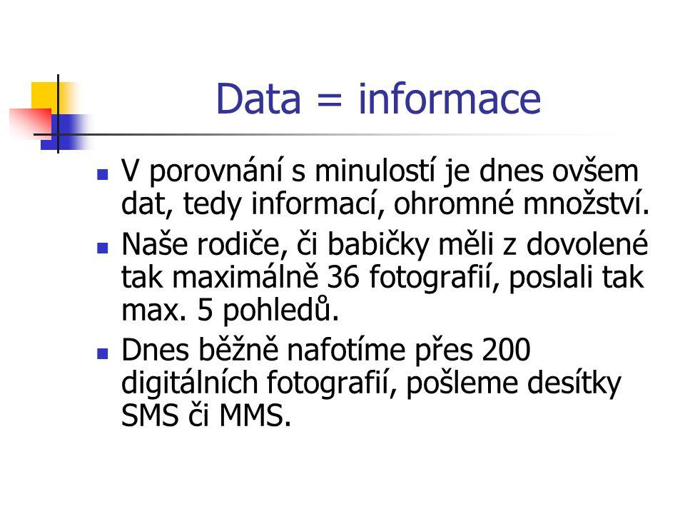 Data = informace V porovnání s minulostí je dnes ovšem dat, tedy informací, ohromné množství.