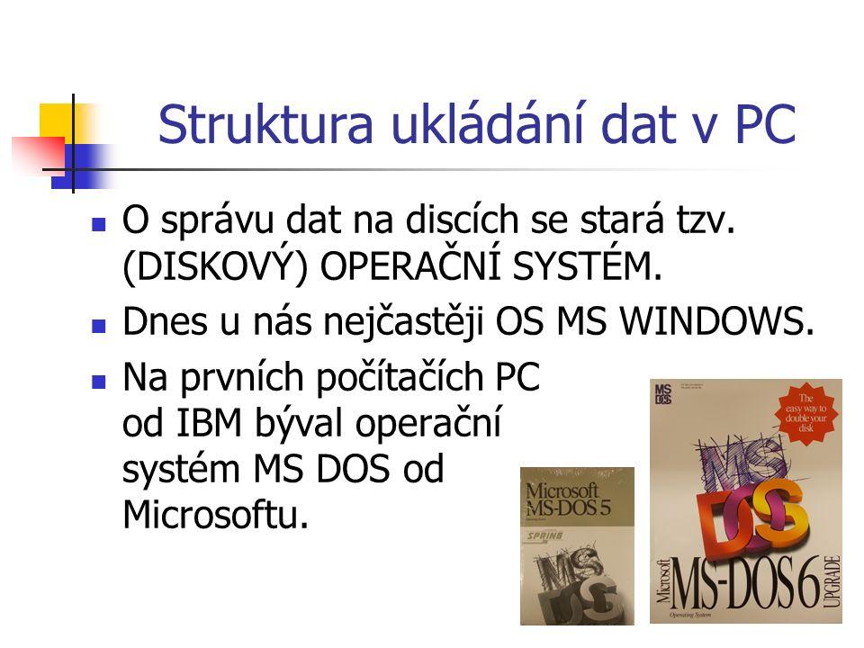 Struktura ukládání dat v PC O správu dat na discích se stará tzv.