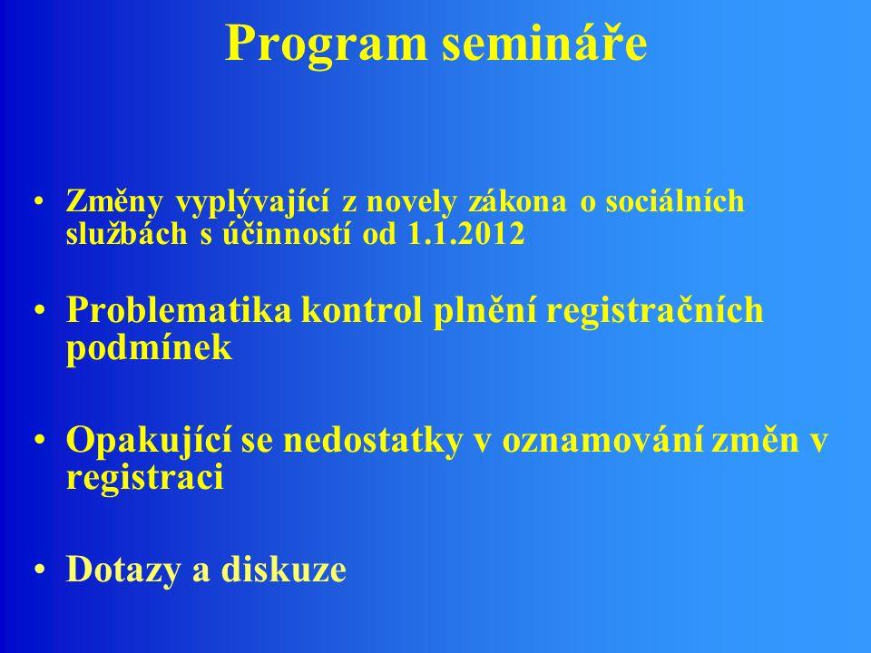 Program semináře Změny vyplývající z novely zákona o sociálních službách s účinností od 1.1.2012 Problematika kontrol plnění registračních podmínek Opakující se nedostatky v oznamování změn v registraci Dotazy a diskuze