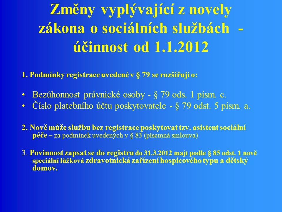 Změny vyplývající z novely zákona o sociálních službách - účinnost od 1.1.2012 1.