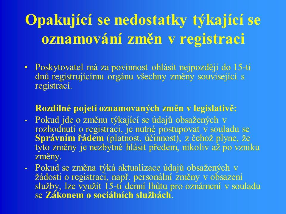 Opakující se nedostatky týkající se oznamování změn v registraci Poskytovatel má za povinnost ohlásit nejpozději do 15-ti dnů registrujícímu orgánu všechny změny související s registrací.