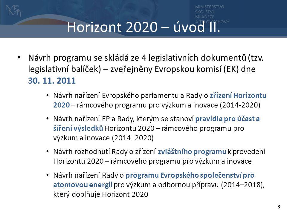 Horizont 2020 – úvod II. Návrh programu se skládá ze 4 legislativních dokumentů (tzv.