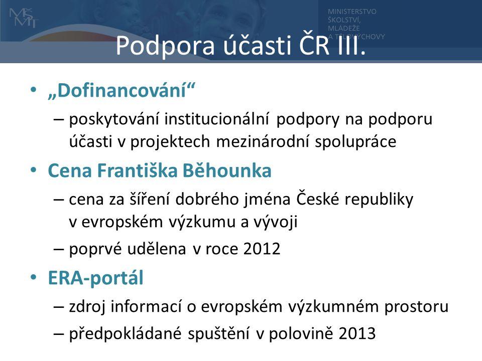 Podpora účasti ČR III.