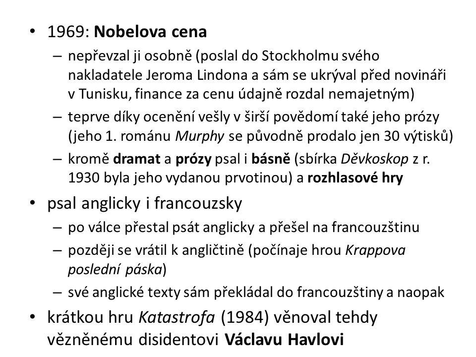 1969: Nobelova cena – nepřevzal ji osobně (poslal do Stockholmu svého nakladatele Jeroma Lindona a sám se ukrýval před novináři v Tunisku, finance za cenu údajně rozdal nemajetným) – teprve díky ocenění vešly v širší povědomí také jeho prózy (jeho 1.