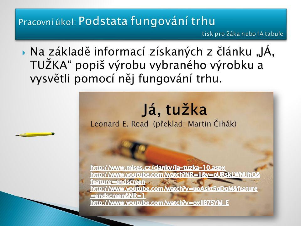 """ Na základě informací získaných z článku """"JÁ, TUŽKA popiš výrobu vybraného výrobku a vysvětli pomocí něj fungování trhu."""