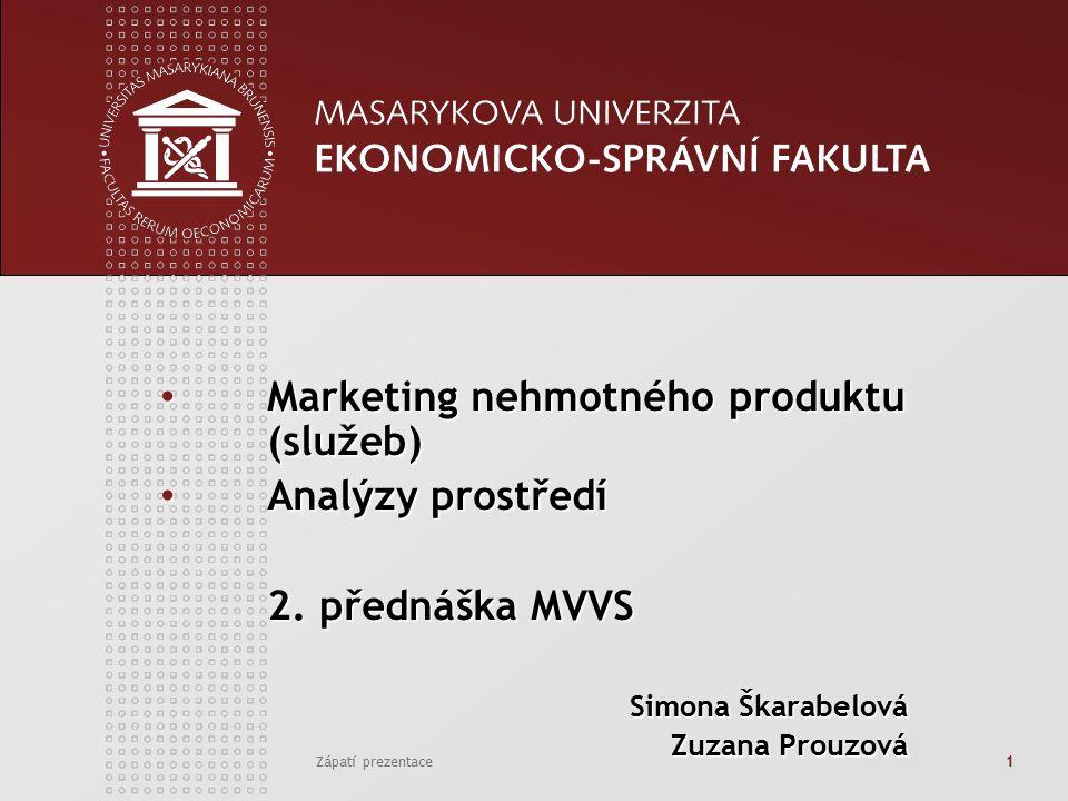 Zápatí prezentace1 Marketing nehmotného produktu (služeb) Marketing nehmotného produktu (služeb) Analýzy prostředí Analýzy prostředí 2.