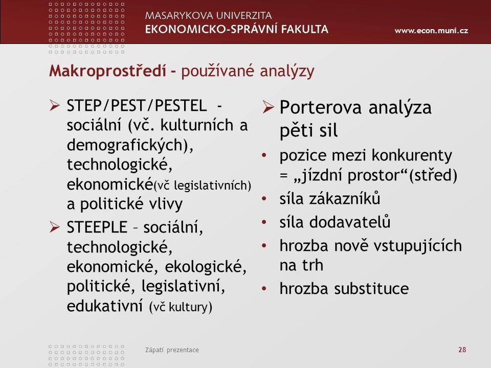 www.econ.muni.cz Makroprostředí - používané analýzy  STEP/PEST/PESTEL - sociální (vč.