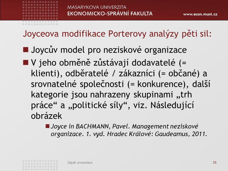 """www.econ.muni.cz Joyceova modifikace Porterovy analýzy pěti sil: Joycův model pro neziskové organizace V jeho obměně zůstávají dodavatelé (= klienti), odběratelé / zákazníci (= občané) a srovnatelné společnosti (= konkurence), další kategorie jsou nahrazeny skupinami """"trh práce a """"politické síly , viz."""