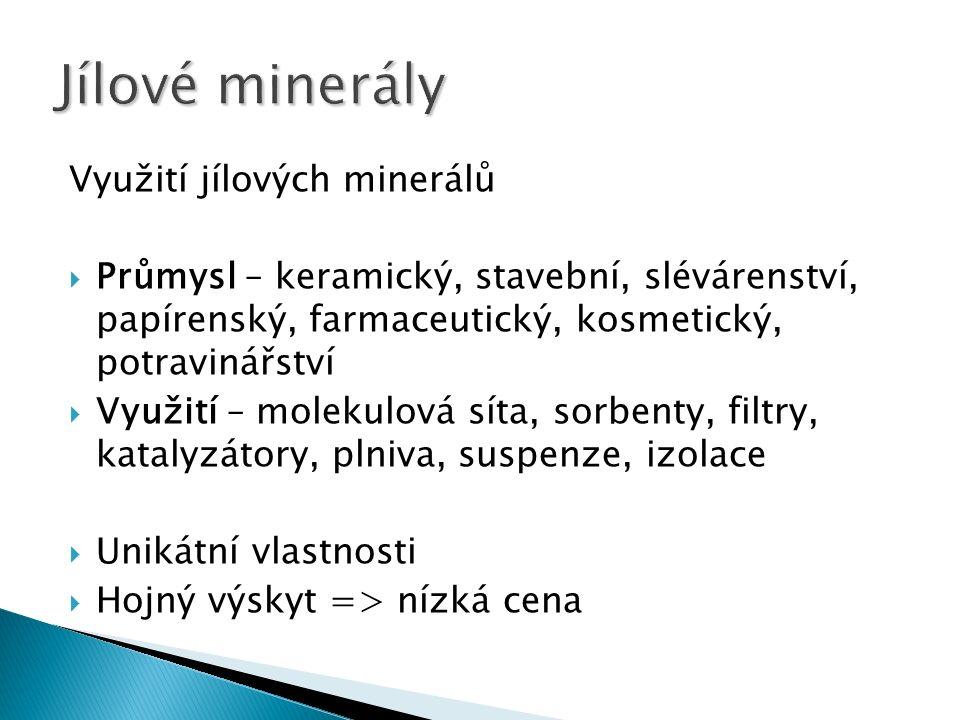 Využití jílových minerálů  Průmysl – keramický, stavební, slévárenství, papírenský, farmaceutický, kosmetický, potravinářství  Využití – molekulová síta, sorbenty, filtry, katalyzátory, plniva, suspenze, izolace  Unikátní vlastnosti  Hojný výskyt => nízká cena