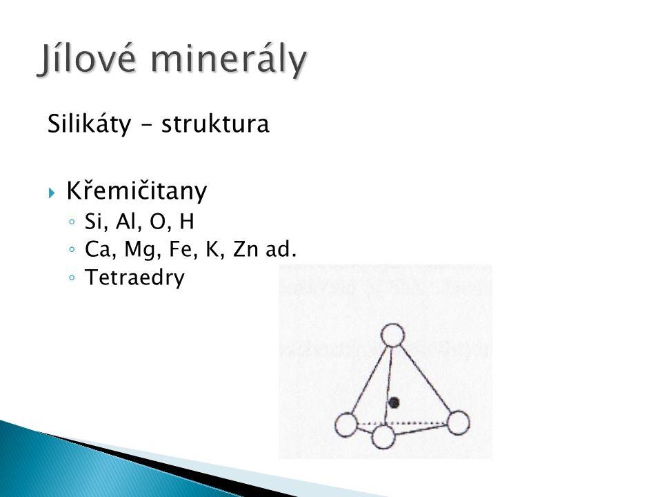 Silikáty – struktura  Křemičitany ◦ Si, Al, O, H ◦ Ca, Mg, Fe, K, Zn ad. ◦ Tetraedry