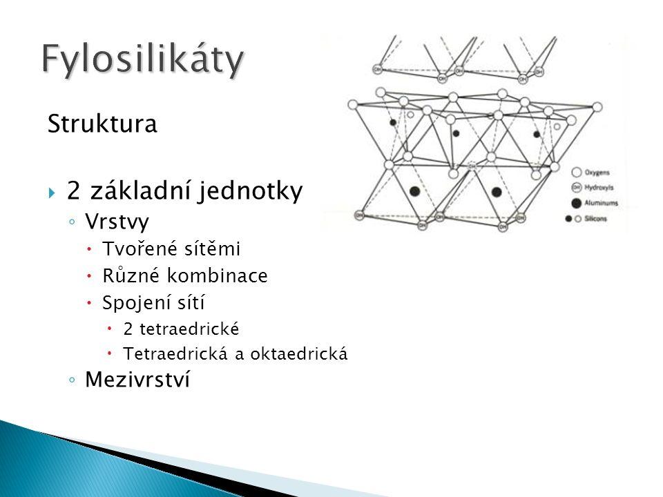 Struktura  2 základní jednotky ◦ Vrstvy  Tvořené sítěmi  Různé kombinace  Spojení sítí  2 tetraedrické  Tetraedrická a oktaedrická ◦ Mezivrství