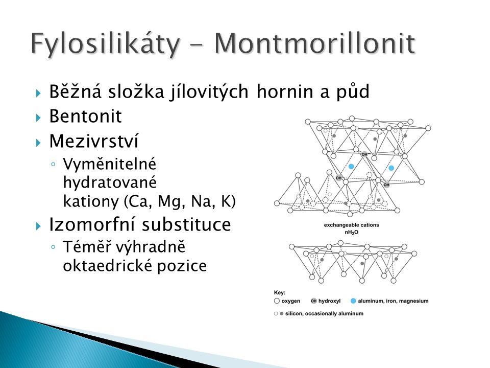  Běžná složka jílovitých hornin a půd  Bentonit  Mezivrství ◦ Vyměnitelné hydratované kationy (Ca, Mg, Na, K)  Izomorfní substituce ◦ Téměř výhradně oktaedrické pozice