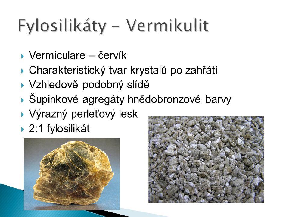  Vermiculare – červík  Charakteristický tvar krystalů po zahřátí  Vzhledově podobný slídě  Šupinkové agregáty hnědobronzové barvy  Výrazný perleťový lesk  2:1 fylosilikát