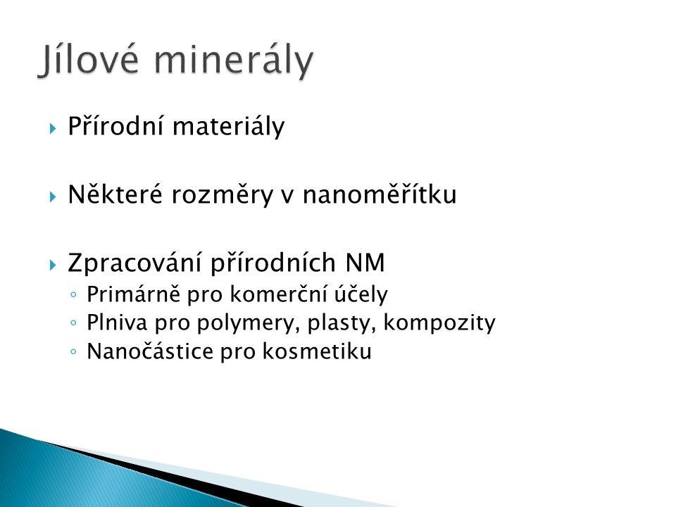  Přírodní materiály  Některé rozměry v nanoměřítku  Zpracování přírodních NM ◦ Primárně pro komerční účely ◦ Plniva pro polymery, plasty, kompozity ◦ Nanočástice pro kosmetiku