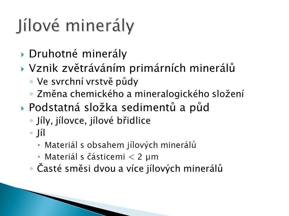  Druhotné minerály  Vznik zvětráváním primárních minerálů ◦ Ve svrchní vrstvě půdy ◦ Změna chemického a mineralogického složení  Podstatná složka sedimentů a půd ◦ Jíly, jílovce, jílové břidlice ◦ Jíl  Materiál s obsahem jílových minerálů  Materiál s částicemi < 2 µm ◦ Časté směsi dvou a více jílových minerálů