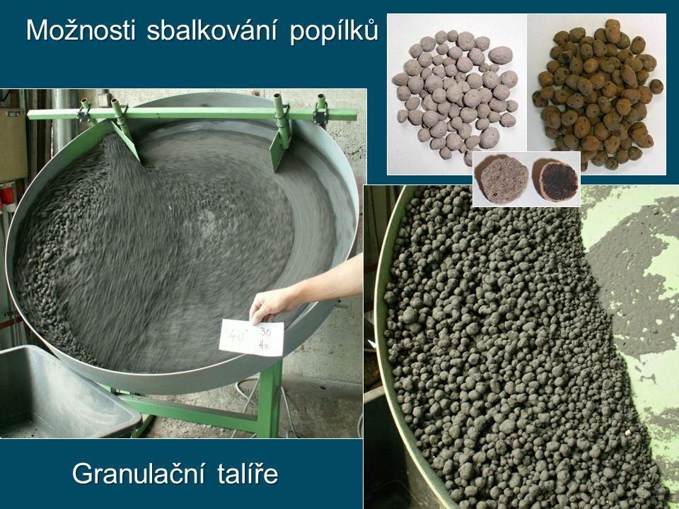 Možnosti sbalkování popílků Granulační talíře
