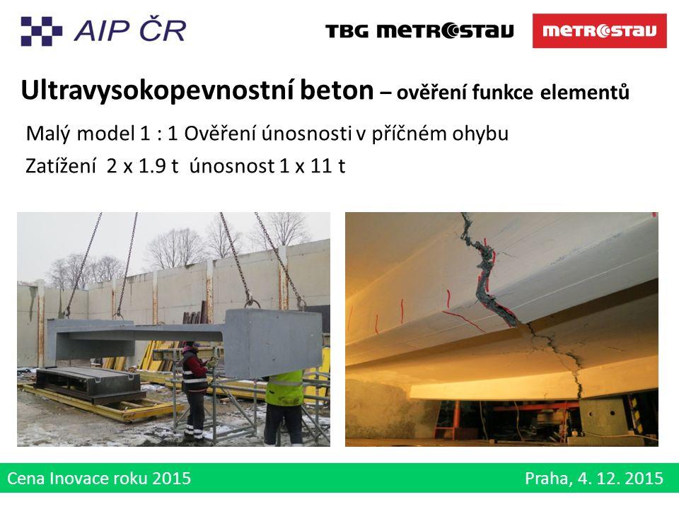Cena Inovace roku 2015 Praha, 4. 12. 2015 Ultravysokopevnostní beton – ověření funkce elementů Malý model 1 : 1 Ověření únosnosti v příčném ohybu Zatí