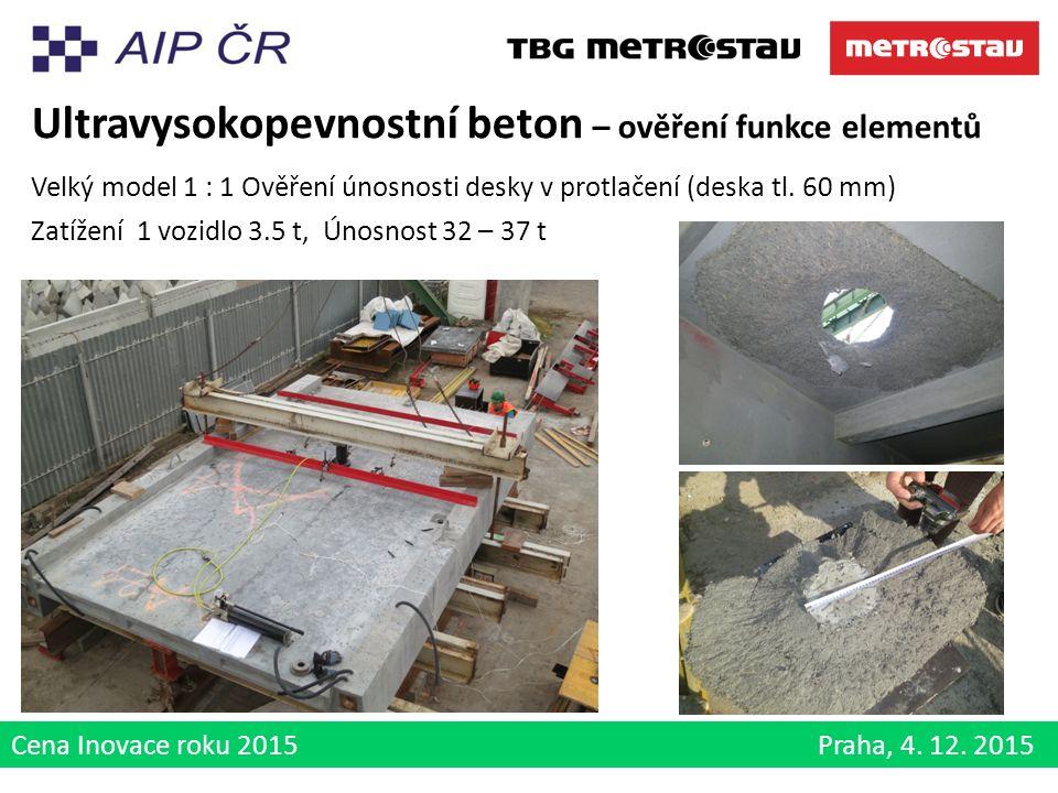 Cena Inovace roku 2015 Praha, 4. 12. 2015 Ultravysokopevnostní beton – ověření funkce elementů Velký model 1 : 1 Ověření únosnosti desky v protlačení