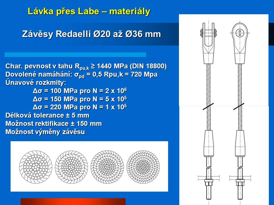 Lávka přes Labe – materiály Závěsy Redaelli Ø20 až Ø36 mm Char.