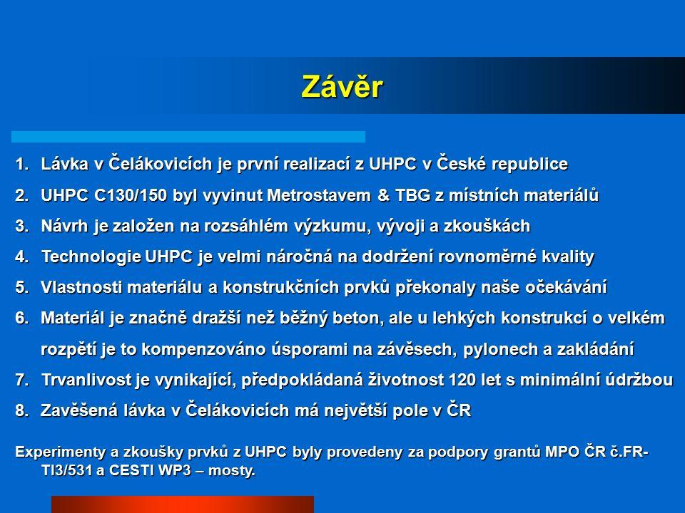 Závěr 1.Lávka v Čelákovicích je první realizací z UHPC v České republice 2.UHPC C130/150 byl vyvinut Metrostavem & TBG z místních materiálů 3.Návrh je založen na rozsáhlém výzkumu, vývoji a zkouškách 4.Technologie UHPC je velmi náročná na dodržení rovnoměrné kvality 5.Vlastnosti materiálu a konstrukčních prvků překonaly naše očekávání 6.Materiál je značně dražší než běžný beton, ale u lehkých konstrukcí o velkém rozpětí je to kompenzováno úsporami na závěsech, pylonech a zakládání 7.Trvanlivost je vynikající, předpokládaná životnost 120 let s minimální údržbou 8.Zavěšená lávka v Čelákovicích má největší pole v ČR Experimenty a zkoušky prvků z UHPC byly provedeny za podpory grantů MPO ČR č.FR- TI3/531 a CESTI WP3 – mosty.