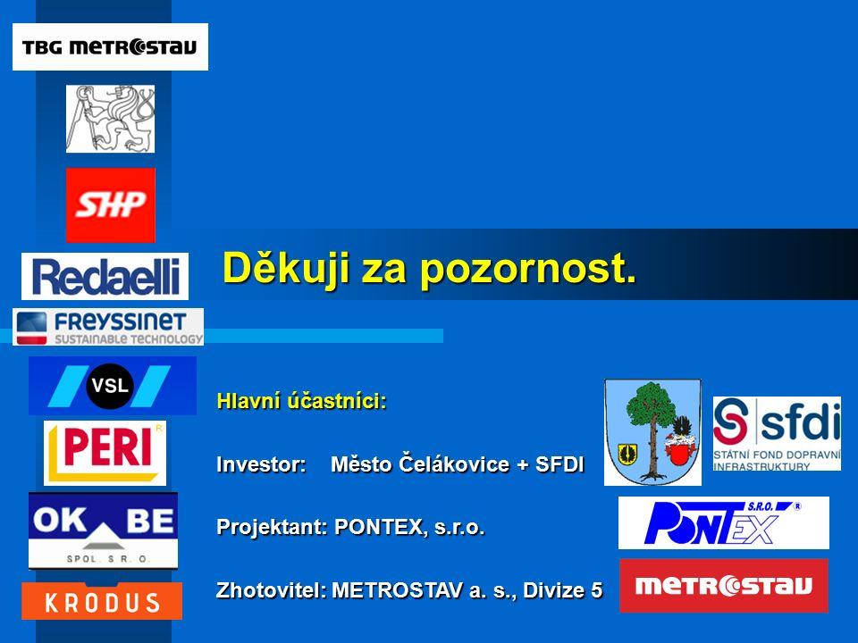 Děkuji za pozornost. Hlavní účastníci: Investor: Město Čelákovice + SFDI Projektant: PONTEX, s.r.o.