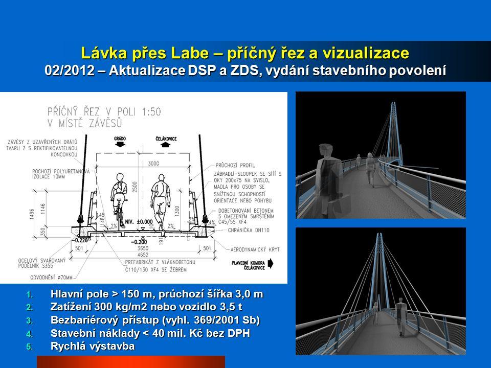 Lávka přes Labe – příčný řez a vizualizace 02/2012 – Aktualizace DSP a ZDS, vydání stavebního povolení 1.