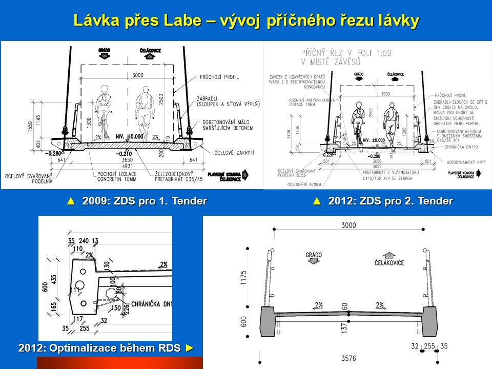 Lávka přes Labe – podélný řez a vizualizace (RDS)