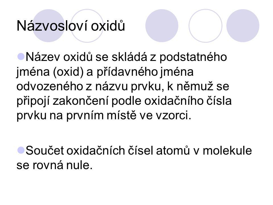 Názvosloví oxidů Název oxidů se skládá z podstatného jména (oxid) a přídavného jména odvozeného z názvu prvku, k němuž se připojí zakončení podle oxid