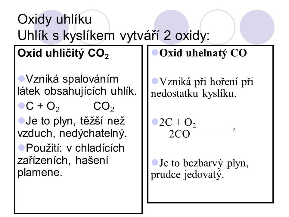 Oxidy uhlíku Uhlík s kyslíkem vytváří 2 oxidy: Oxid uhličitý CO 2 Vzniká spalováním látek obsahujících uhlík. C + O 2 CO 2 Je to plyn, těžší než vzduc