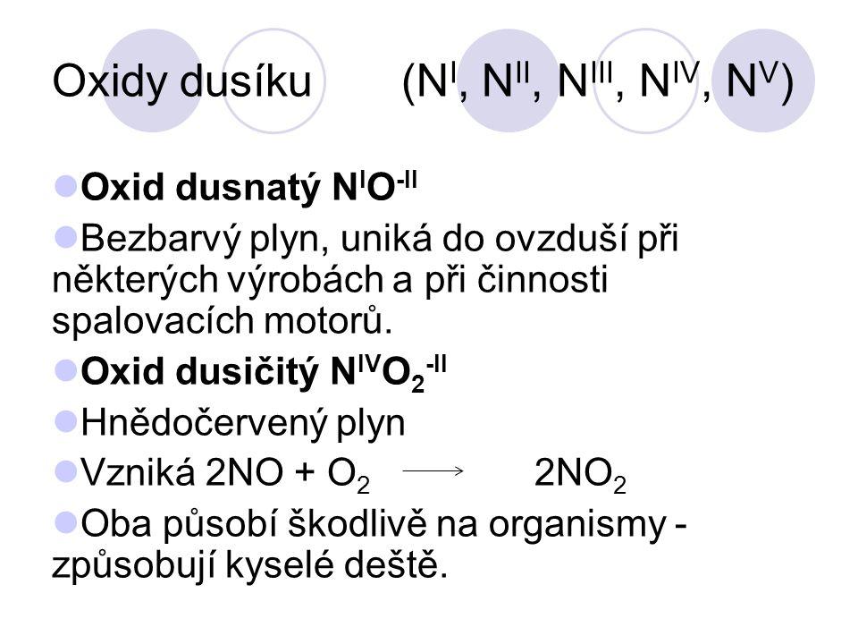 Oxidy dusíku (N I, N II, N III, N IV, N V ) Oxid dusnatý N I O -II Bezbarvý plyn, uniká do ovzduší při některých výrobách a při činnosti spalovacích m