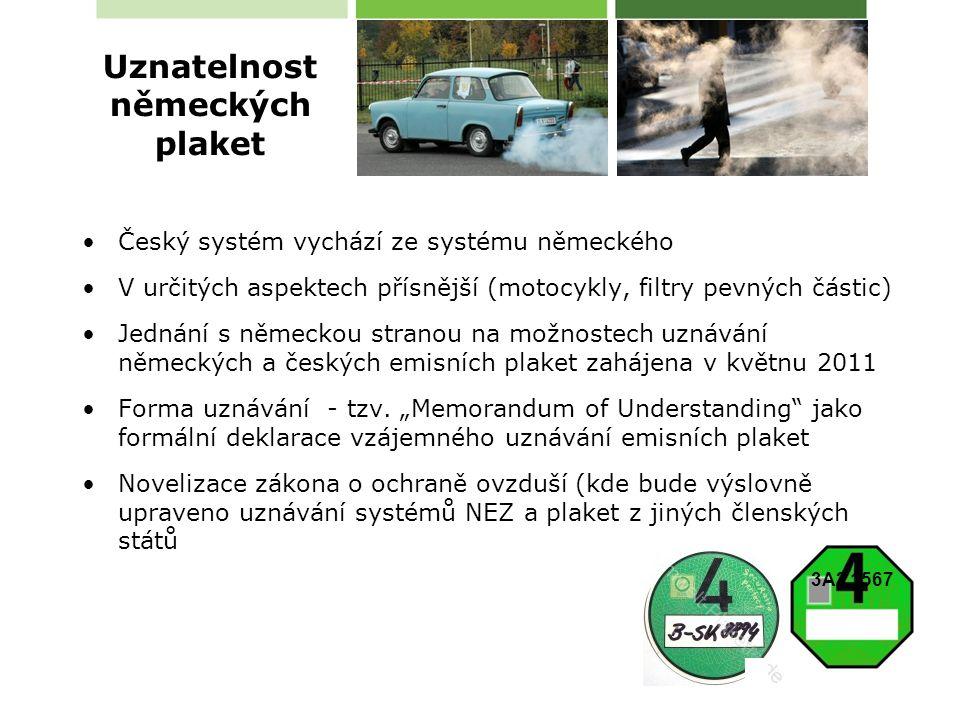 Český systém vychází ze systému německého V určitých aspektech přísnější (motocykly, filtry pevných částic) Jednání s německou stranou na možnostech uznávání německých a českých emisních plaket zahájena v květnu 2011 Forma uznávání - tzv.