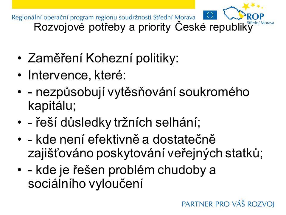 Rozvojové potřeby a priority České republiky Zaměření Kohezní politiky: Intervence, které: - nezpůsobují vytěsňování soukromého kapitálu; - řeší důsledky tržních selhání; - kde není efektivně a dostatečně zajišťováno poskytování veřejných statků; - kde je řešen problém chudoby a sociálního vyloučení