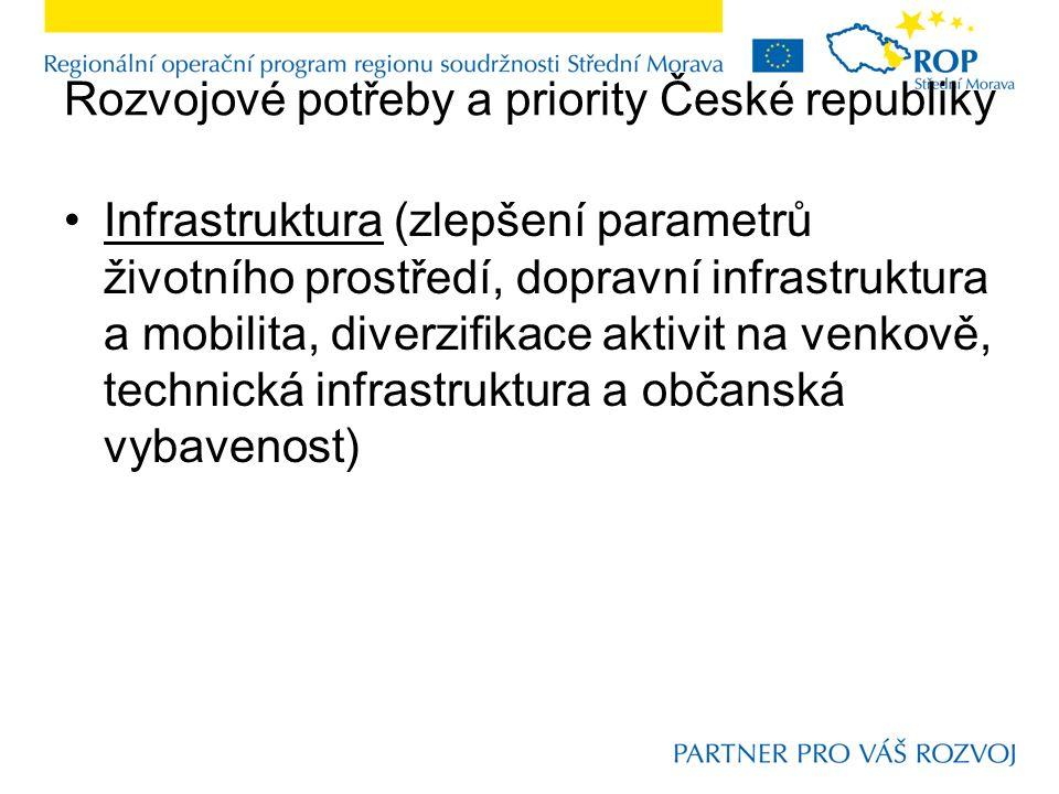 Rozvojové potřeby a priority České republiky Infrastruktura (zlepšení parametrů životního prostředí, dopravní infrastruktura a mobilita, diverzifikace aktivit na venkově, technická infrastruktura a občanská vybavenost)