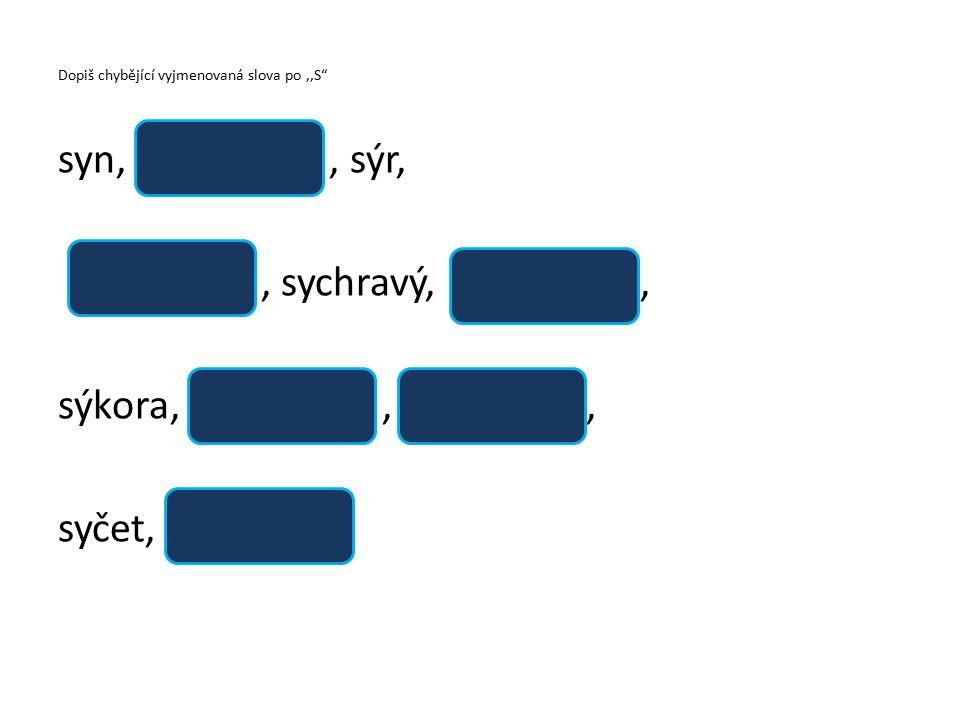 Dopiš chybějící vyjmenovaná slova po,,S syn,, sýr,, sychravý,, sýkora,,, syčet,