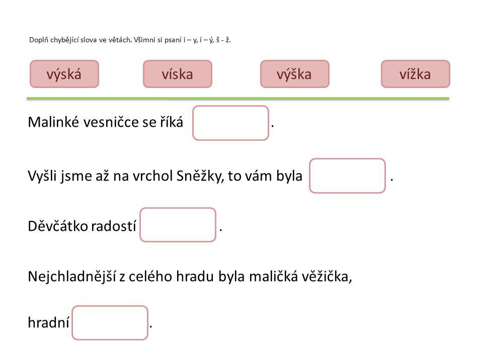 Doplň chybějící slova ve větách. Všimni si psaní i – y, í – ý, š - ž.