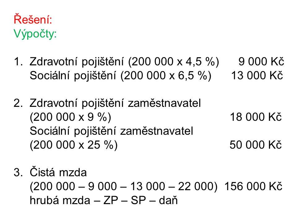 Řešení: Výpočty: 1. Zdravotní pojištění (200 000 x 4,5 %) 9 000 Kč Sociální pojištění (200 000 x 6,5 %) 13 000 Kč 2. Zdravotní pojištění zaměstnavatel