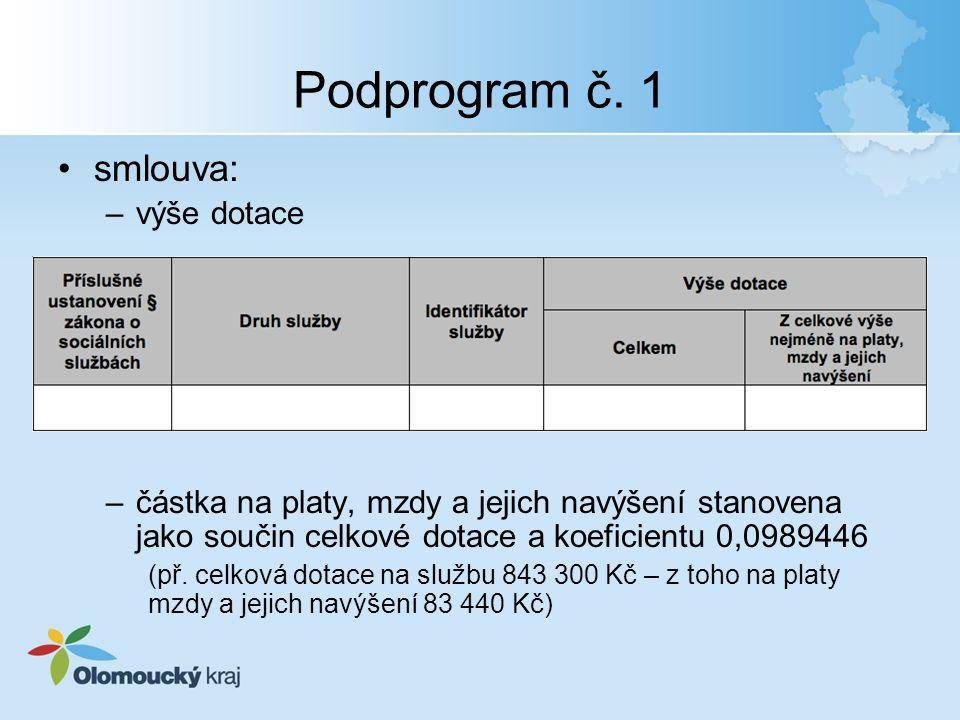 Podprogram č. 1 smlouva: –výše dotace –částka na platy, mzdy a jejich navýšení stanovena jako součin celkové dotace a koeficientu 0,0989446 (př. celko