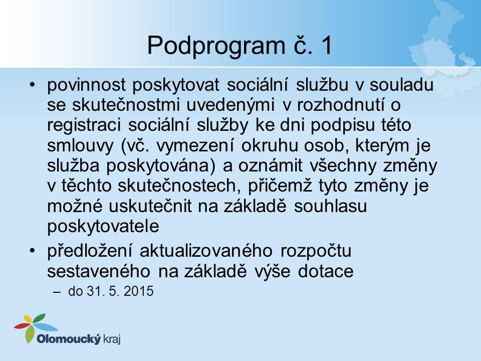 Podprogram č. 1 povinnost poskytovat sociální službu v souladu se skutečnostmi uvedenými v rozhodnutí o registraci sociální služby ke dni podpisu této