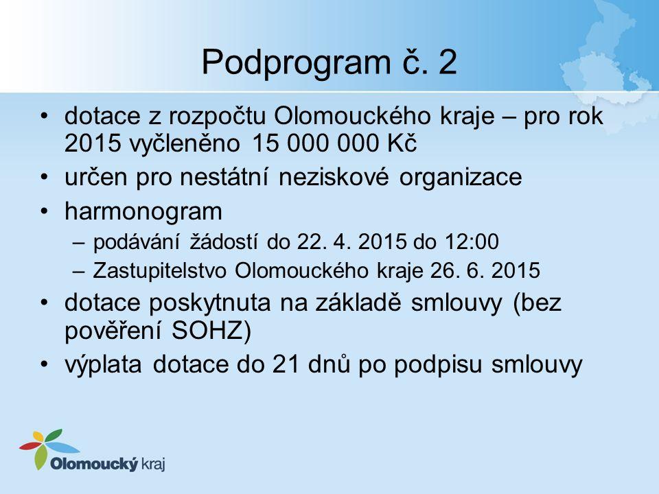 Podprogram č. 2 dotace z rozpočtu Olomouckého kraje – pro rok 2015 vyčleněno 15 000 000 Kč určen pro nestátní neziskové organizace harmonogram –podává
