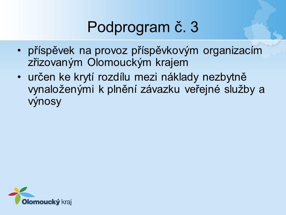 Podprogram č. 3 příspěvek na provoz příspěvkovým organizacím zřizovaným Olomouckým krajem určen ke krytí rozdílu mezi náklady nezbytně vynaloženými k