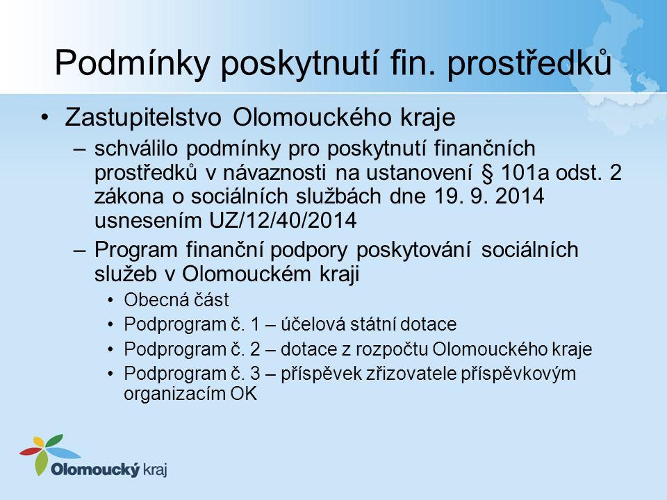 Podmínky poskytnutí fin. prostředků Zastupitelstvo Olomouckého kraje –schválilo podmínky pro poskytnutí finančních prostředků v návaznosti na ustanove