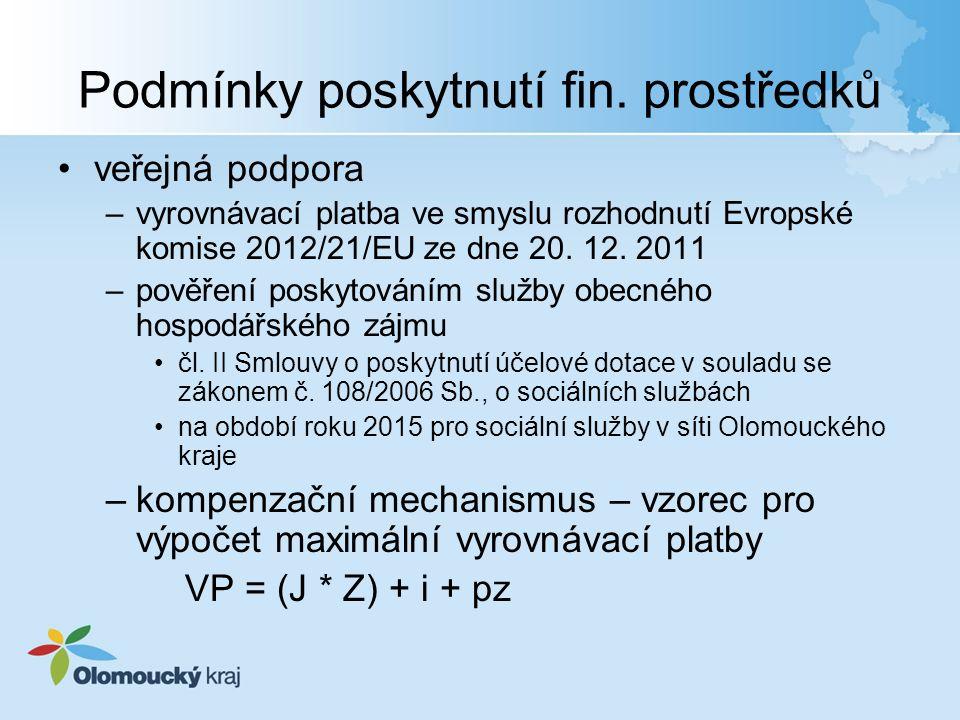 Podmínky poskytnutí fin. prostředků veřejná podpora –vyrovnávací platba ve smyslu rozhodnutí Evropské komise 2012/21/EU ze dne 20. 12. 2011 –pověření